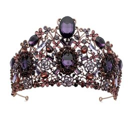 $enCountryForm.capitalKeyWord Australia - Hair Jewelry Large Vintage Baroque Purple Crystal Queen Princess Crown With Hair Comb Wedding Bridal Tiara Prom Rhinestone Women Accessories