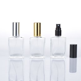 Vial Square Bottle Australia - 15 ML Cosmetic Compact Empty Perfume Bottle Transparent Pressed Spray Bottle Frosted Portable Little Square Glass Filling Vials