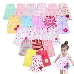 Dot Line Dress Australia - Newborn Baby Summer Dresses Baby Girls A-Line Lovely Sleeveless Dress Infant Soft Cotton Dress Child Cute Pattern Decor Dot Clothes