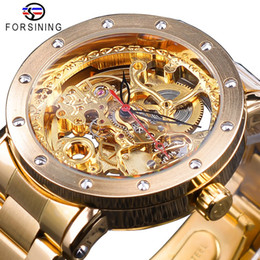 Silver Black Red Australia - Forsining Fashion Silver Skeleton Wristwatch Black Red Pointer Silver Stainless Steel Belt Waterproof Automatic Watches for Men SLZe134