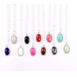 small stone necklace NZ - Fashion Custom Jewelry Small Wholesale Kendra Style Pave Crytsals Oval Faceted Resin Stone Chokers Pendants Short Chain Necklace for Women