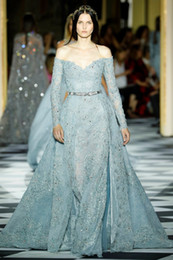 zuhair murad dresses Australia - Zuhair Murad Overskirt Lace Evening Dresses Off The Shoulder Neck Long Sleeves Beaded Prom Gown Appliqued Light Sky Blue Formal Dress
