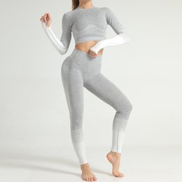 body fitness suit NZ - 2-piece Seamless Woman Yoga Suit Stripe Knitting Lift The Hips Elastic Force Body-building Gym Fitness Yoga Set