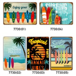 vintage beach painting Australia - Tin Signs Collection Beach Surfing Vintage Wall Art RetroTIN SIGN Old Wall Metal Painting ART Bar Man Cave Pub Restaurant Home Decoration