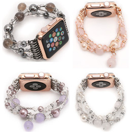 banded agate NZ - YUKIRIN Agate Beads Pearl Bracelet Strap for Apple Watch Series 4 3 2 1 Band for iWatch Women's Watchband Adapters 38 42 40 44mm