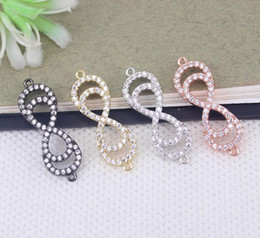 Micro Pave Connectors Australia - 10pcs Metal Copper Micro Pave White CZ Infinity connector Beads in 4 colors For Bracelet Jewelry Making