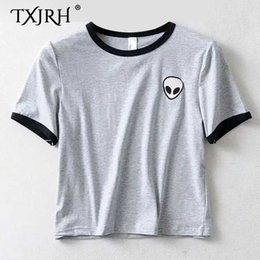 384b8b783 TXJRH 2019 Stylish Alien Print Cartoon Embroidery Slim T-Shirt O-Neck  Pullover Trendy Women Short Sleeve Casual Tee Tops 2 Color