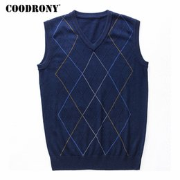 long knitted sleeveless cardigan Australia - COODRONY Casual Argyle V-Neck Sleeveless Vest Men Clothes 2019 Autumn Winter New Arrival Knitted Cashmere Wool Sweater Vest 8174 SH190928