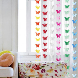 paper garland wholesale Australia - 18pcs set Paper Butterfly Cotton Rope Garlands Christmas Chain Wedding Party Hanging Paper Kids Girl Room Romance Decor