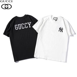 7536045e1 2019 new hot men and women models summer two-color round neck cotton chest  pattern embroidery couple short-sleeved T-shirt