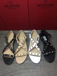 $enCountryForm.capitalKeyWord NZ - High Quality 2019 Design Luxury Rubber Metallic Caged Slide Ankle Strap Women Stud Sandals Slingback Flat Sandal Rivets Shoes Size 34-41