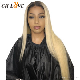 $enCountryForm.capitalKeyWord Australia - OKLove Full Lace Human Hair Wig 1B#613 Ombre Blonde 150% Density Pre-Plucked Peruvian Remy Straight Human Hair Wigs with Baby Hair