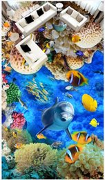 Marines Housing Australia - Custom photo wallpapers 3d self-adhesive floor painting wallpapers Underwater World Dolphin Marine Life 3D Floor Painting Wall Stickers