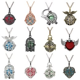 $enCountryForm.capitalKeyWord Australia - More Designs Birdcage Elephant Owl Lave Bead cage Pendant Essential Oil Diffuser Locket Mexican Angel Bola Chime Ball For Pregnant Women