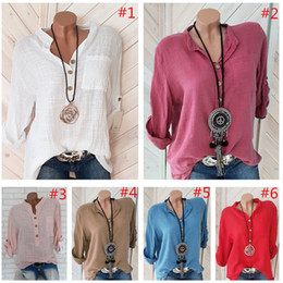 wholesale linen clothing women Australia - S-5XL Women T Shirt Half Sleeve V-neck Sweatshirt Blouse Spring Summer T-shirt Pullover Oversized Linen Shirts Blouses Ladies Top Clothing
