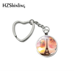 cartoon girl glasses Australia - 2019 New Fashion Bonjour Paris Heart Keychains Je T'aime Eiffel Tower Glass Cabochon Key Fob for Women Men Gifts