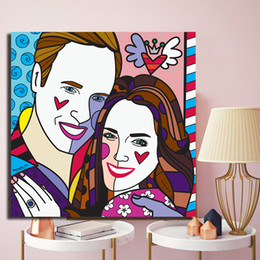 loving painting NZ - Real Love Blue Kate Middleton William Canvas Painting Poster HD Picture Printing Decorative For Kid Living Room Home Decor