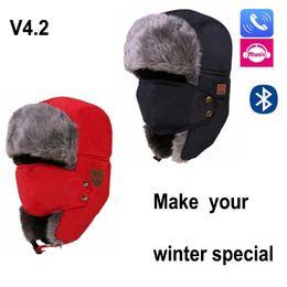Beanies For Winter Australia - New Autumn Winter Warm Beanie Hat Wireless Bluetooth Smart Cap Headset Headphone Speaker Mic Bluetooth Hat for woman and man DHl free