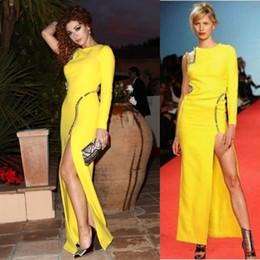 $enCountryForm.capitalKeyWord Australia - Sexy Open Back Yellow Evening Dresses Sheath Long High Side Split Myriam Fares Celebrity Party Gowns Beaded One Sleeve Charming Prom Dress