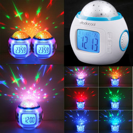 Discount desk calendar lamp Digital LED Alarm Clock Night Light Lamp Music Starry Sky Projection Desktop Clocks Table Desk Bedside Lamps Battery Operated with Calendar