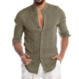 Wholesale linen blend shirts resale online – New Men s Casual Blouse Cotton Linen Shirt Loose Tops Short Sleeve Tee Shirt Spring Autumn Summer Casual Handsome Men Shirt