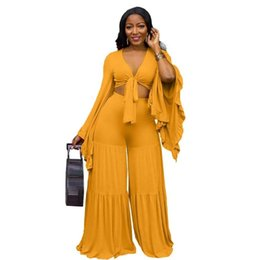 Wholesale woman beach outfit resale online - Winter Beach Two Piece Set V Neck Women Flare Sleeve Crop Top Wide Leg Pants Suit Casual Tracksuit Outfit