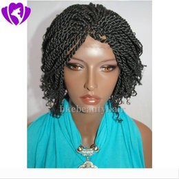 micro braided wigs Australia - Free shipping 14inch Micro braided Lace Front Wig Short Black Wigs For Women Heat Resistant Synthetic Hair Senegalese 2X Twist wig