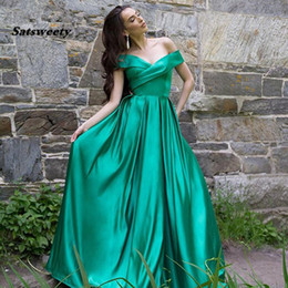 $enCountryForm.capitalKeyWord Australia - Wrap Off Shoulder Ball Gown Prom Dresses Satin Evening Pageant Gowns Vestido de Festa Party Long Dress with Pockets