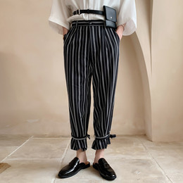 902d3d9ec3 2019 Spring Summer Korean Men Casual Loose Vertical Stripe Printing  Straight Pants Black white Bound Feet Trousers Homme M-2XL