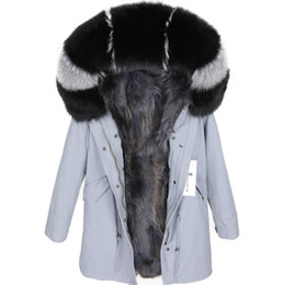 Wholesale sweden women resale online - Grey raccoon fur lining grey blue long parkas USA Sweden Maomaokong brand Lavish black fox fur trim hoody women snow coats