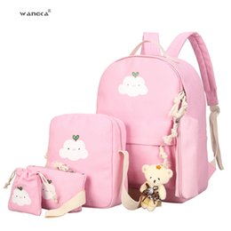 $enCountryForm.capitalKeyWord Australia - Women Backpack Style Canvas 4 Set pc Travel Rucksack Cute Cloud Printing School Bags For Teenager Girls Book Bagpack Wangka Y19052202