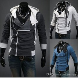 assassins creed mens hoodie Australia - Mens Assassins Creed 3 Hooded Coat Jacket Fashion Oblique Zipper Slim Hoodies Coat Male Casual Fit Long Sleeved Sweatshirts Jacket Coat Tops