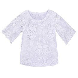 Half Children Shirts Australia - White Shirt summer shirt toddler girl shirts Fashion Half Sleeve Lace Top Summer Children Clothing little girl clothes