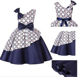 Princess blocks online shopping - Sloping Shoulder Kids Dresses for Girls Summer White Plain Dark Blue Color Block Princess Wedding Party Dress European Children Clothing