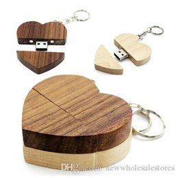 shaped flash drive NZ - Topsell Unique Heart Shape Wood USB 2.0 Flash Drive Custom Wedding Studio Gift Pendrive storages 4gb 8g 16g 32g 64g over 30pcs freelogo