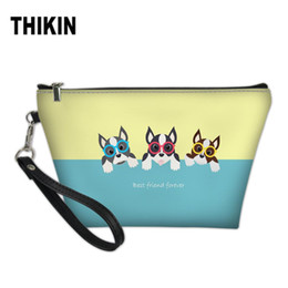 $enCountryForm.capitalKeyWord Australia - THIKIN Women Large Cosmetic Bag Cute Boston Terrier Best Friend Forever Printing Beauty Case Make Up Portable Wash Kit Bags 2019