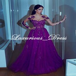 Prom Charms Australia - Sweetheart A-line Appliques Long-sleeves Purple Mermaid Prom Dresses Charming jewel Floor Length Arabian Evening Gowns robe de soiree