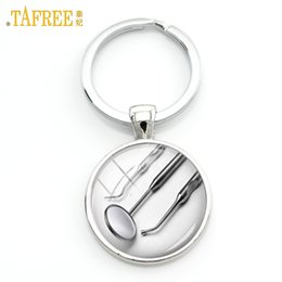 $enCountryForm.capitalKeyWord Australia - TAFREE Oral hygienist gift dentist medical equipment keychain fashion simple style doctor charms key chain ring jewelry KC156