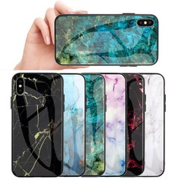 Wholesale Marble Tempered Glass Phone Cases Soft Edge Cover Hard Cover Shockproof Housing Anti Scratch Protective Cover for iPhone XS Max Samsung S10e
