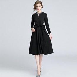 b32b6951ab7 Formal Dress With Sleeve Lady Work Office Dresses Long Sleeve High Waist  Women Banquet Little Black Dresses