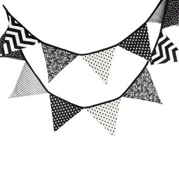 fabric bunting wholesaler UK - 12pcs Special Black and White Flag Decoration Cotton Fabric Bunting Pennant Banner Garland Birthday Party Festival Weding Decor