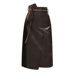 $enCountryForm.capitalKeyWord UK - Pengpious Sexy Women Wrap Hip Pu Skirt Women High Waist Irregular Cut Women Faux Leather Skirt Knee Length With Belt Y190428