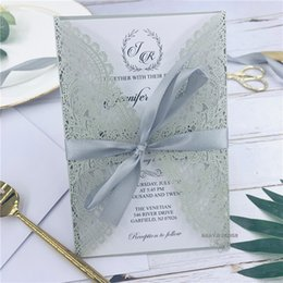 $enCountryForm.capitalKeyWord Australia - Hot Selling Luxury Shimmer Silver Laser Cut Wedding Invitation With Ribbon, Envelope And Customized Insert, Free Shipping