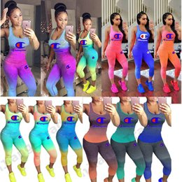 Wholesale gradient color leggings for sale - Group buy Gradient Color Champions Print Tracksuit Women Piece Set Outfit Sleeveless Tank Top Vest Tights Leggings Pants Summer Sportswear A41203