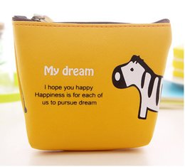 $enCountryForm.capitalKeyWord NZ - Cute Cartoon Coin Purse Kids Favor Animal Elephant Horse PU Leather Zipper Card Wallets Holder Bags For Children Gift Coin Bag 4Color