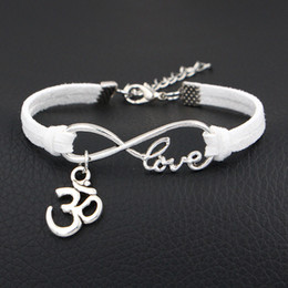 Man Woman Sign NZ - Hot Sale 2018 Fashion Women Men Infinity Love 3D Shape Sign Charm Bangles Bracelets White Leather Suede Cuff Wristband Jewelry Drop Shipping