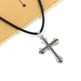 Rope Pendant Crosses Wholesale Australia - 2019 New Men Punk Anchor Cross Pendant With Rope Necklace Punk Men's Trend Necklace Jewelry Wholesale