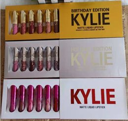 $enCountryForm.capitalKeyWord NZ - Kylie Jenner Cosmetics Matte Lipstick Lip gloss Mini Leo Kit Lip Birthday Limited Edition gold silver white box 6pcs matt lipstick