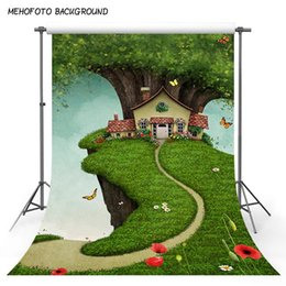 cartoon photography background 2019 - Vinyl Photography Background Fairy Tale Cartoon Forest Butterfly Children Backdrops Custom Photo Shoots Backgrounds S-30