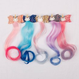 Hair Kids Wholesale NZ - Hair Accessories Barrettes for Girls Hair Bows Stacked Glitter Bows Rainbow Long Wig Ponytails 3'' Kids Headwear Handmade Hair Clips5Pcs lot